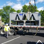 A picture of a commercial Carrier Rooftop Unit on a flatbed